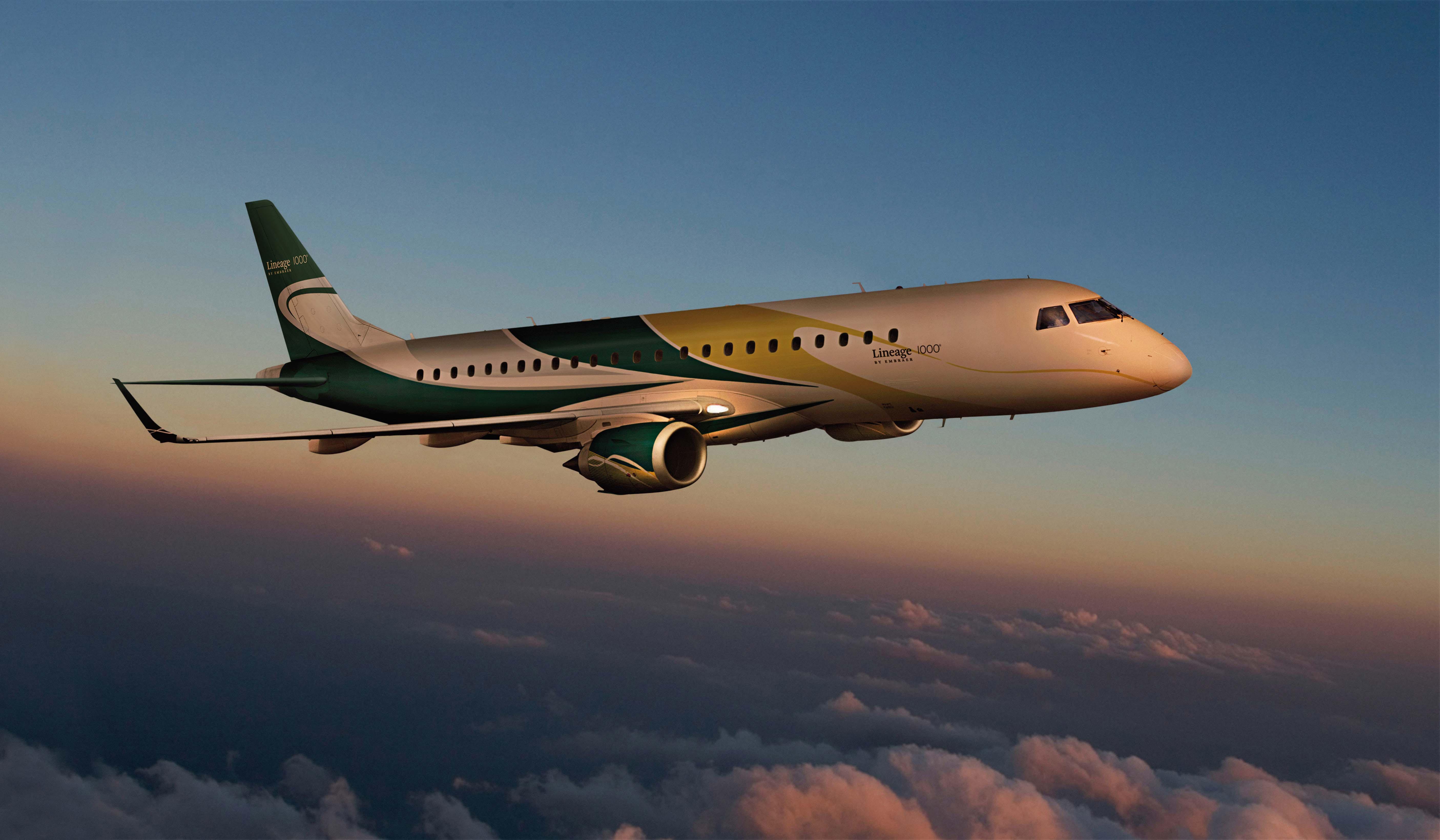 Embraer lineage 1000 plane sense aviation for Airplane exterior design